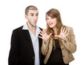 Couple unbelievable expression person emotions and expressions portrait Stock Images