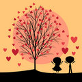 Couple under love tree Stock Photography