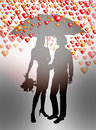 Couple under umbrella on valentines day Stock Images