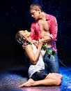 Couple  under  water drop. Royalty Free Stock Image