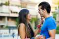Couple in urban background enjoying themselves portrait of young romantic outdoor Royalty Free Stock Photos