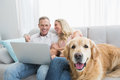 Couple using laptop and spending time with their dog Royalty Free Stock Photo
