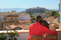 Couple on vacation in athens greece happy young Royalty Free Stock Images