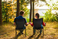 Couple on vacation in camping Royalty Free Stock Photo