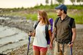 Couple on vacation portrait of of happy hikers a trip Stock Photo