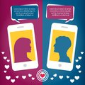 Couple virtual love talking using mobile phone messages sms mms vector illustration Stock Image
