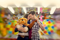 Couple in visiting an attractions park - shoot with lensbaby Royalty Free Stock Photo