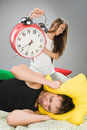 Couple waking up early Royalty Free Stock Image