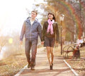 Couple on a walk in the park Royalty Free Stock Photo