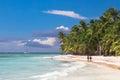 Couple walk on tropical island beach with perfect sunny sky Royalty Free Stock Photo