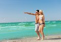 Couple walking on the beach picture of happy Royalty Free Stock Photography
