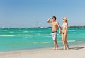 Couple walking on the beach picture of happy Royalty Free Stock Image