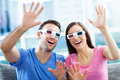 Couple wearing d glasses young Royalty Free Stock Photography