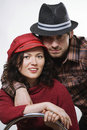 Couple wearing hats Stock Images