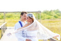Couple in wedding day with wind on veil Stock Image