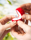 Couple with wedding ring and gift box Royalty Free Stock Photo