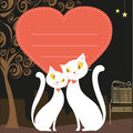 Couple of white cats and red heart