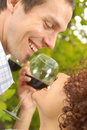 Couple with wine Royalty Free Stock Image