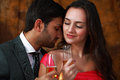 Couple wine romance Stock Images