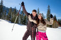Couple in winter mountains young happy Stock Images