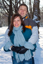 Couple in winter park Royalty Free Stock Photography