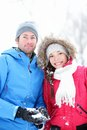Couple in winter portrait Royalty Free Stock Photos