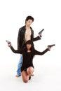 Couple woman man detective secret agent criminal