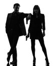 Couple woman man detective secret agent criminal  silhouette Royalty Free Stock Photos