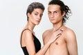 Couple woman and man Vitiligo skin problems portrait. Unusual pe Royalty Free Stock Photo