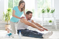 Couple working out together  at home Royalty Free Stock Photo