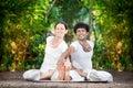Couple yoga in India Royalty Free Stock Photo