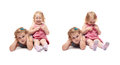 Couple of young little girl sitting over isolated white background Royalty Free Stock Photo