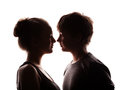 Couple of the young in love silhouette shadow isolated on a white Royalty Free Stock Photo