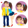 Couple young lovers kiss of cute girlfriend hugging and kissing happy smiling boyfriend Stock Photography