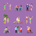 Couple of young man and woman life style set love illustration Royalty Free Stock Photo