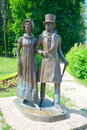Couple of young nobles on a walk dmitrov russia june townsfolk sculptural composition kropotkin street sculptor karaulov Royalty Free Stock Images