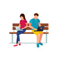 Couple of young people in a flat style of sitting on the bench.