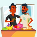 Couple Of Young Teen Gays Cooking Food Together In Kitchen Vector. Isolated Illustration