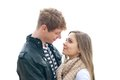 Couples adolescents dans l amour fond blanc Photos libres de droits