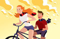 Couples conduisant la bicyclette tandem Photo stock
