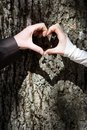 Couples hands forming heart Royalty Free Stock Image