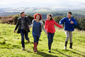 Couples holding hands on country walk Royalty Free Stock Image