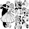 Couples in love collection of illustrations showing Royalty Free Stock Images