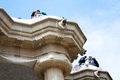 Couples in love at park Guell Stock Images