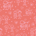 Couples in love seamless pattern background vector with hand drawn elements Stock Images