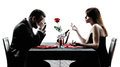 Couples lovers dating dinner dispute silhouettes dinning separation in on white background Royalty Free Stock Photos