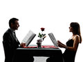 Couples lovers dating dinner silhouettes dinning reading menu in on white background Stock Photos