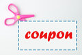 Coupon with scissor and dotted line on white background Royalty Free Stock Image