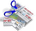Coupon scissors cut out sale coupons cutting money saving retail store for discounts Royalty Free Stock Images