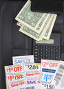 Coupons,money and caculator Royalty Free Stock Photo